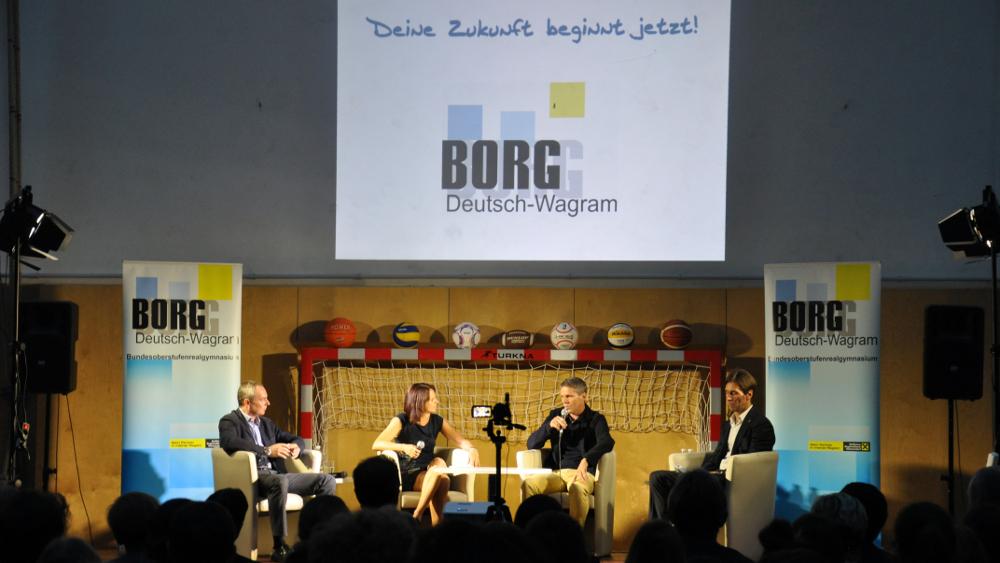 (v.l.n.r.) Christian Peischl, Mag.Claudia Edhofer, Didi Kühbauer, FI Mag. Gerhard Angerer